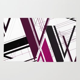 "Abstract Typography: Art Deco ""V"" Rug"