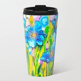 Blue Poppies 2 with Border Travel Mug