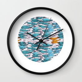 sardine run (blue) Wall Clock