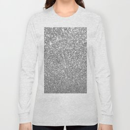 Elegant chic girly faux silver trendy abstract glitter Long Sleeve T-shirt