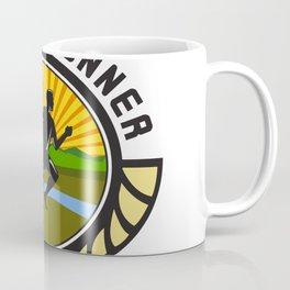 Cross Country Runner Text Oval Retro Coffee Mug