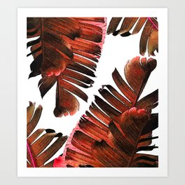 Banana Leaf - Tropical Leaf Print - Botanical Art - Modern Abstract - Brown, Copper, Red Art Print