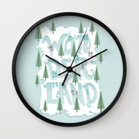 wonderland Wall Clocks featuring Wonderland by Nick Volkert