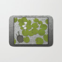 Water lilies with Florida Soft-shell Turtle Bath Mat