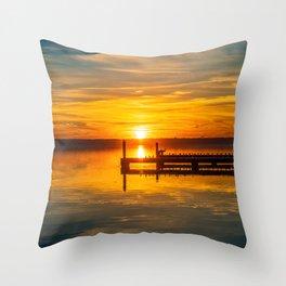 Sunset Over the Docks Throw Pillow