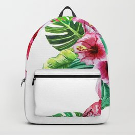 set of watercolor prints of exotic leaves and pink flowers with pink flamingos Backpack