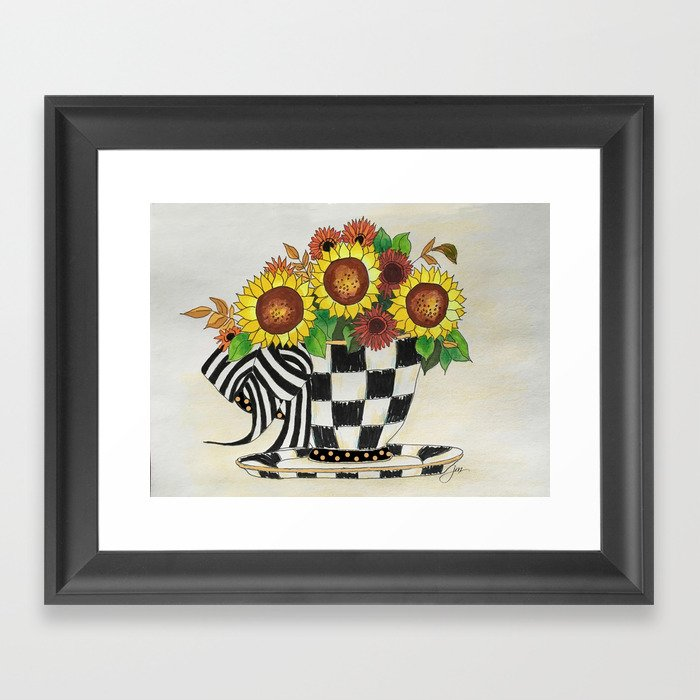 Sunflower Tea Framed Art Print
