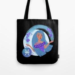 Pisces Zodiac Illustration Tote Bag