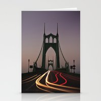 marc johns Stationery Cards featuring St. Johns Bridge by Cameron Booth