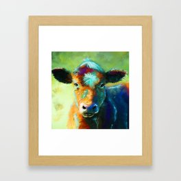 Rainbow Calf Abstract Cow painting Framed Art Print