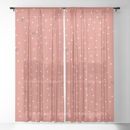 flying dandelion seeds simple Christmas seamless pattern and White Confetti on Coral Orange Pattern Background Sheer Curtain