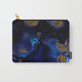 Gold and Indigo Malachite Marble Carry-All Pouch