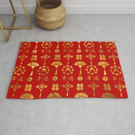 Gold on Red  Lucky Chinese Symbols  Pattern Rug