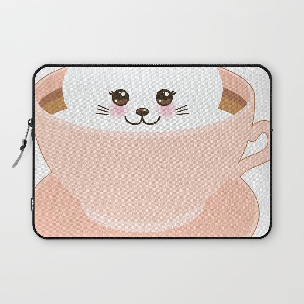 Cute Kawai Cat In Pink Cup Laptop Sleeve LSV8692774
