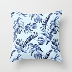 Tropical Palm Leaves Blue Throw Pillow