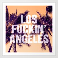 los angeles Art Prints featuring Los Angeles by Text Guy