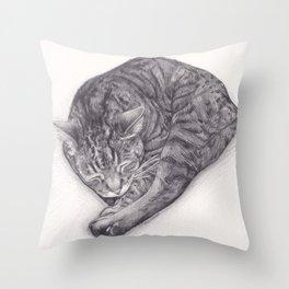 Bengal Cat Sleeping - Pencil Pet Drawing - Sketch by artist artwork Throw Pillow