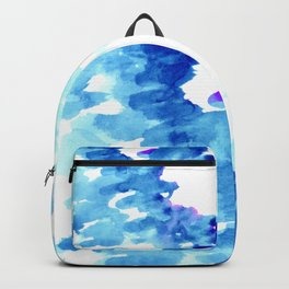 Blue, turquoise water cloud. Colorful watercolor painting Backpack