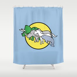 Horned Warrior Friends (unicorn, narwhal, triceratops, rhino) Shower Curtain