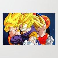 dbz Area & Throw Rugs featuring DBZ - Goku, Vegeta and Vegeto by Mr. Stonebanks