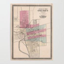 Vintage Map of Columbus Ohio (1868) Poster
