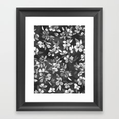 Blossoms on Charcoal Ink Framed Art Print