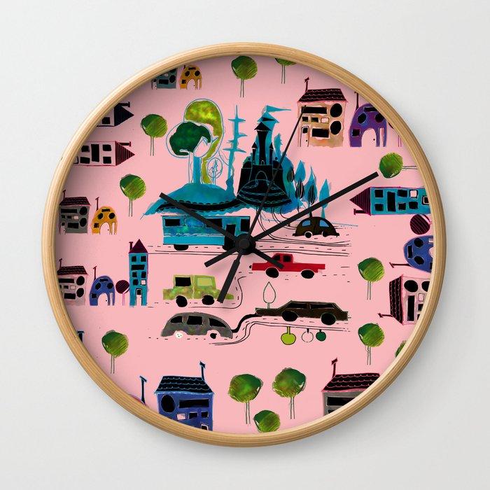 CityView pink Wall Clock