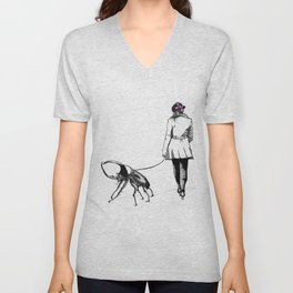 Pets ( and girl and her Beetle ) Unisex V-Neck