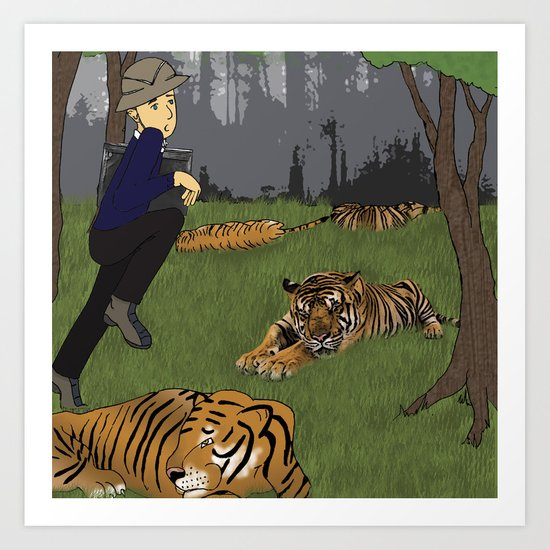 Tiptoeing through Tigers Art Print