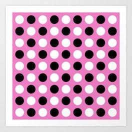 Mid Century Modern Polka Dots 922 Black White and Pink Art Print