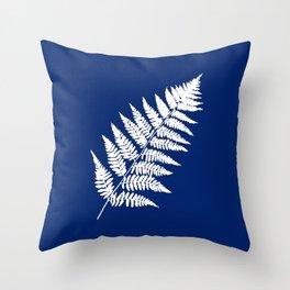 Woodland Fern Pattern, Cobalt Blue and White Throw Pillow