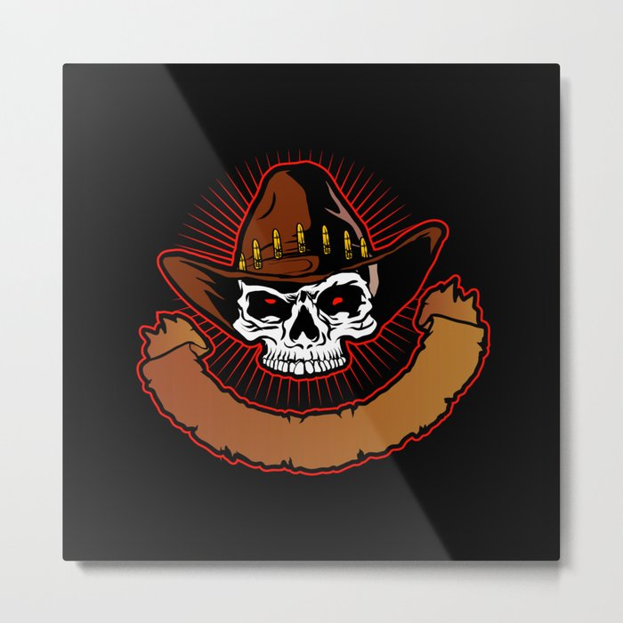 illustration of Cowboy skull Metal Print