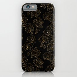 Flowers orchids ornament gold iPhone Case