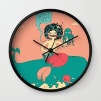 bar Wall Clocks featuring Sushi Bar by Skeeneart