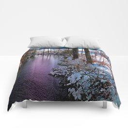 Quiet river in winter time Comforters