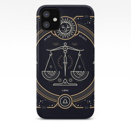 Libra Zodiac Golden White on Black Background iPhone Case