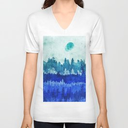 The Blue Forest Moon Unisex V-Neck