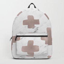 Rose gold marble - scandinavian cross Backpack