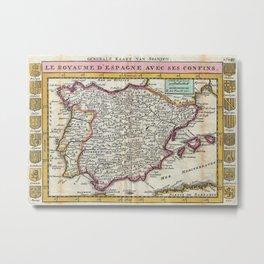 Vintage Map of Spain and Portugal (1747) Metal Print