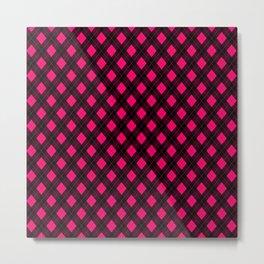Neon Pink and Black Argyle Clan Check Pattern Metal Print