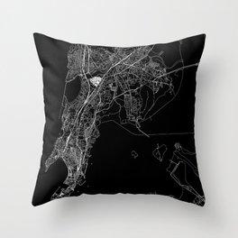 Mumbai Black Map Throw Pillow