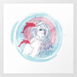 Girl and Dolphins Art Print