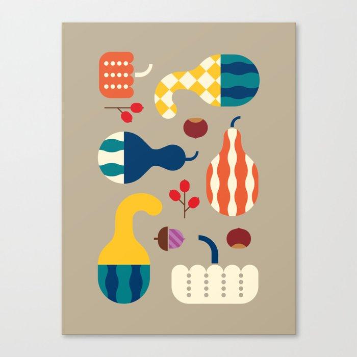 Autumn Gourds Gold Canvas Print