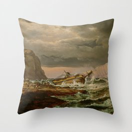 Johan Christian Dahl: Shipwreck on the Coast of Norway, 1832 Throw Pillow