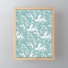 Traditional Hand Drawn Japanese Wave Ink Framed Mini Art Print