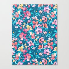 Teal Summer Floral in Watercolors Canvas Print