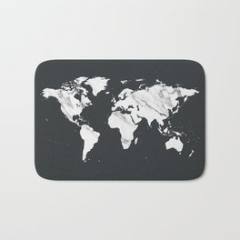 Marble World Map in Black and White Bath Mat