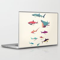 sharks Laptop & iPad Skins featuring Sharks by Simon Alenius