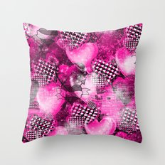 Light Bulb Hearts Series (pink) Throw Pillow