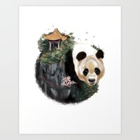 china Art Prints featuring China by Lamya Al Douri Illustration